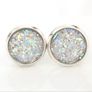 NEW! WHITE IRIDESCENT DRUZY SILVER EARRINGS STUD